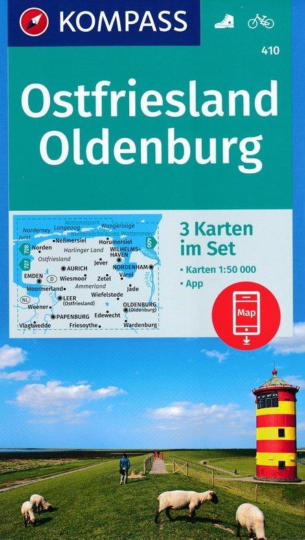 KP-410 Ostfriesland / Oldenburg | Kompass 1:50.000 wandelkaart 9783990444313  Kompass Wandelkaarten Kompass Duitsland  Wandelkaarten Ostfriesland