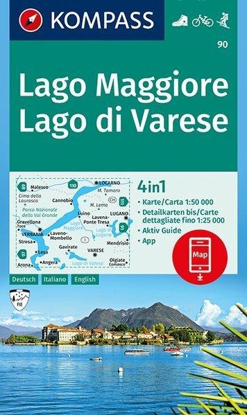 KP-90 Lago Maggiore/Lago di Varese 1:50.000 | Kompass 9783990444337  Kompass Wandelkaarten   Wandelkaarten Ligurië, Piemonte, Lombardije