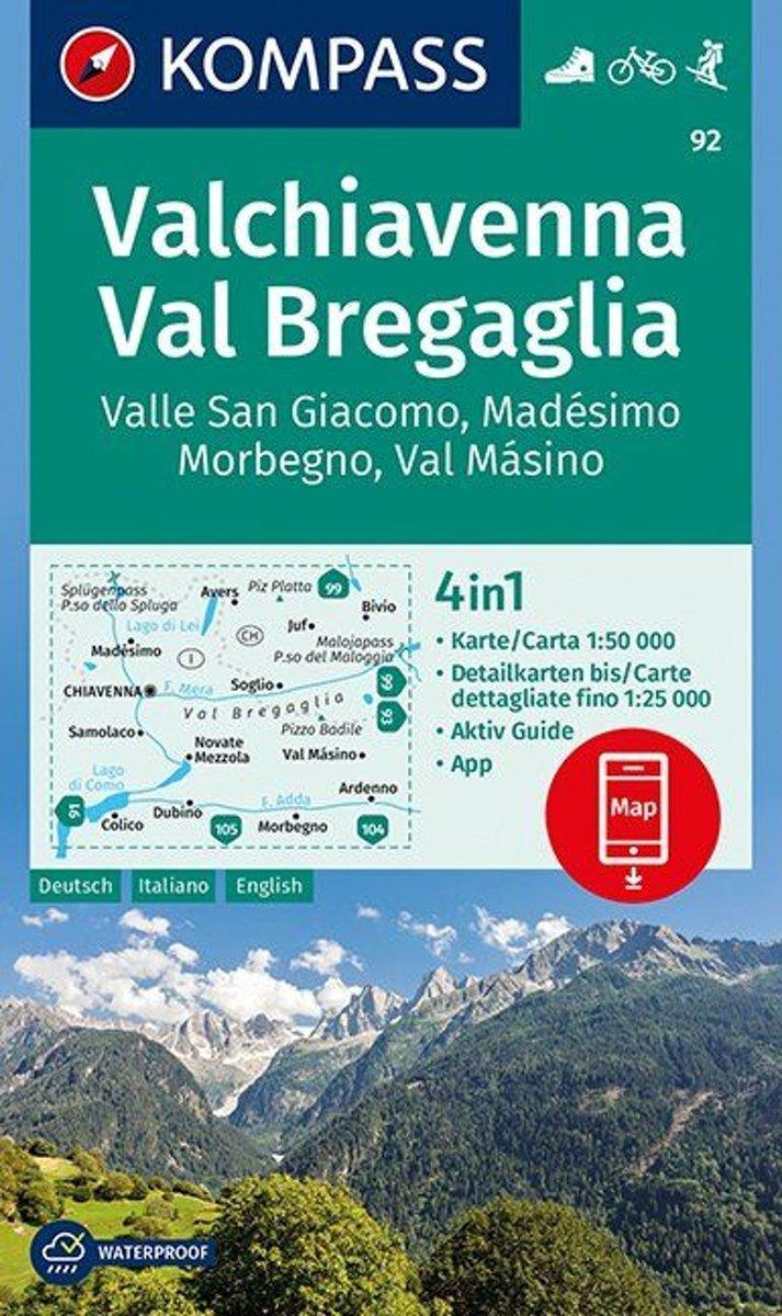 KP-92 Valchiavenna/ Val Bregaglia | Kompass wandelkaart 9783990444344  Kompass Wandelkaarten Kompass Italië  Wandelkaarten Milaan, Lombardije, Italiaanse Meren