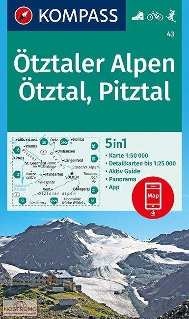 KP-43  Ötztaler Alpen | Kompass wandelkaart 9783990444405  Kompass Wandelkaarten   Wandelkaarten Tirol & Vorarlberg