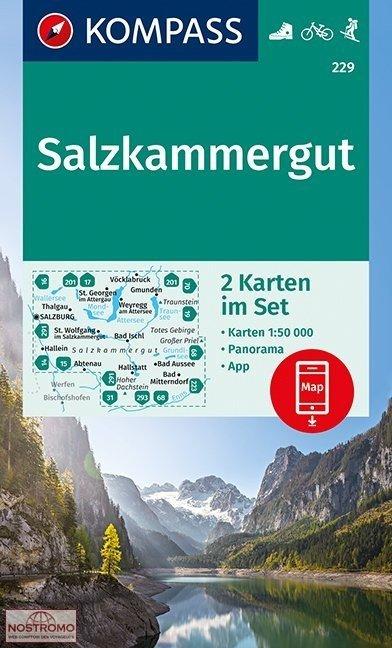 KP-229 Salzkammergut, 2 kaarten 1:50.000 | Kompass wandelkaart 9783990444412  Kompass Wandelkaarten   Wandelkaarten Salzburg, Karinthë, Tauern, Stiermarken