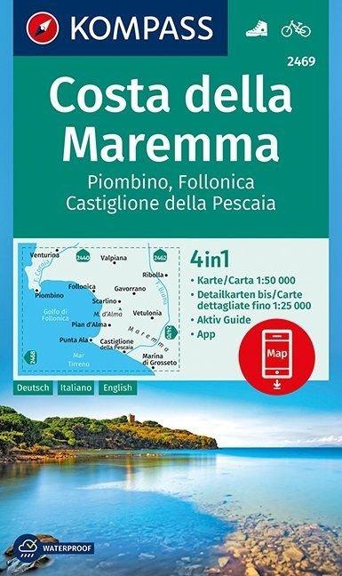KP-2469  Costa della Maremma 1:50.000 | Kompass wandelkaart 9783990444474  Kompass Wandelkaarten   Wandelkaarten Toscane, Umbrië, de Marken