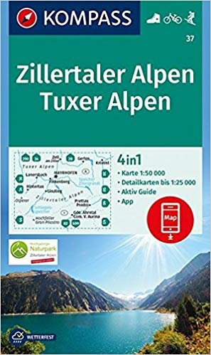 KP-37  Zillertaler Alpen, Tuxer Alpen | Kompass wandelkaart 9783990444634  Kompass Wandelkaarten   Wandelkaarten Tirol & Vorarlberg
