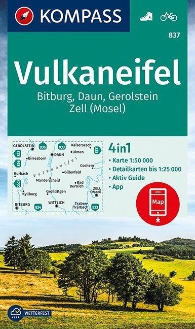KP-837 Vulkaneifel | Kompass 9783990444658  Kompass Wandelkaarten Kompass Duitsland  Wandelkaarten Eifel