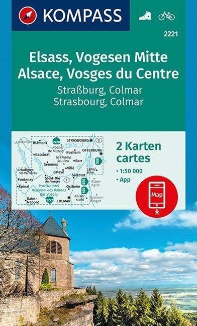KP-2221 Vogezen Centraal (Vogesen-Mitte) 1:50.000 | Kompass wandelkaart 9783990444665  Kompass Wandelkaarten   Lopen naar Rome, Wandelkaarten Vogezen