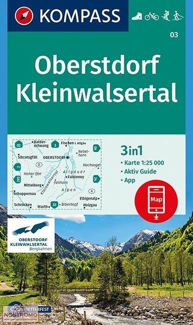 KP-03  Oberstdorf-Kleinwalsertal | Kompass wandelkaart 9783990444719  Kompass Wandelkaarten   Wandelkaarten Beierse Alpen en München