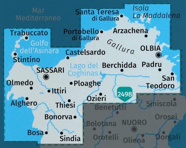 KP-2497 Sardinië, noord  1:50.000 (set van 4 kaarten)   Kompass wandelkaart 9783990444733  Kompass Wandelkaarten Kompass Italië  Fietskaarten, Wandelkaarten Sardinië