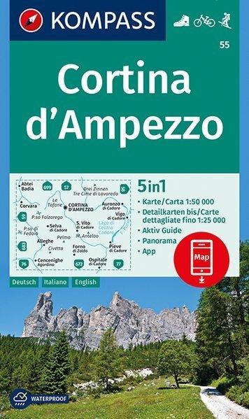 KP-55 Cortina d'Ampezzo 1:50.000 | Kompass wandelkaart 9783990444795  Kompass Wandelkaarten   Wandelkaarten Zuidtirol, Dolomieten, Friuli, Venetië, Emilia-Romagna