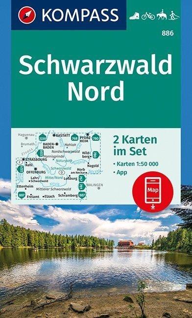 KP-886 Schwarzwald Nord   Kompass wandelkaart 1:50.000 9783990444801  Kompass Wandelkaarten   Wandelkaarten Baden-Württemberg, Zwarte Woud