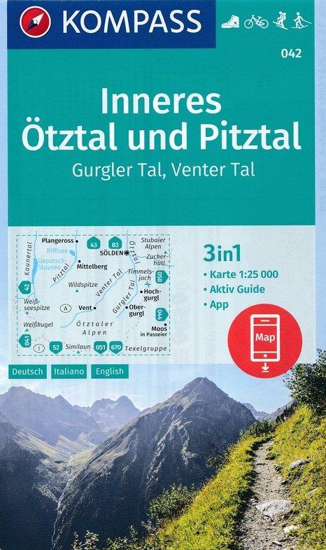 KP-042 Inneres Ötztal/ Pitztal/ Kaunertal | Kompass wandelkaart 9783990444818  Kompass Wandelkaarten   Wandelkaarten Tirol & Vorarlberg