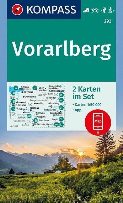 KP-292  Vorarlberg   Kompass wandelkaart 1:50.000 9783990444948  Kompass Wandelkaarten   Wandelkaarten Tirol & Vorarlberg