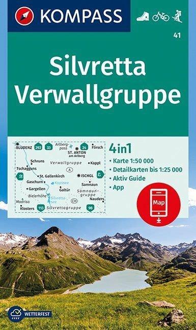 KP-41 Silvretta en Verwallgruppe | Kompass wandelkaart 9783990444962  Kompass Wandelkaarten   Wandelkaarten Tirol & Vorarlberg