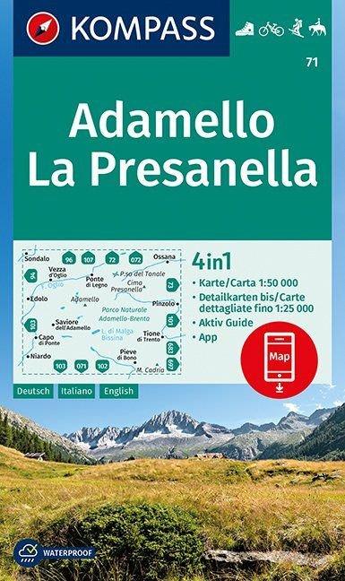 KP-71 Adamello - La Presanella 1:50.000 | Kompass wandelkaart 9783990445006  Kompass Wandelkaarten   Wandelkaarten Zuidtirol, Dolomieten, Friuli, Venetië, Emilia-Romagna