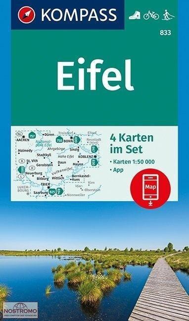 KP-833  Eifel 1:50.000 (set van vier kaarten) 9783990445433  Kompass Wandelkaarten   Wandelkaarten Eifel, Moezel, Rheinland-Pfalz