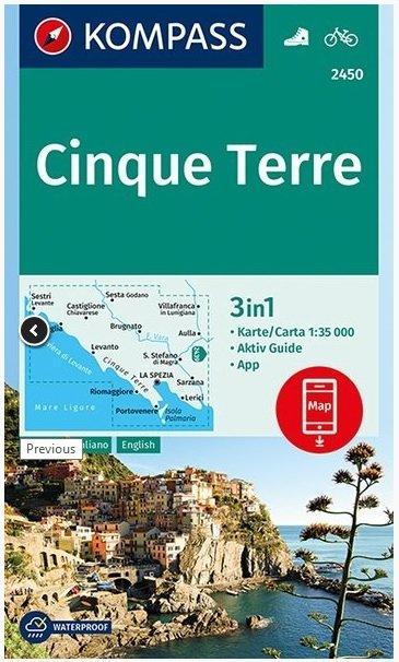 KP-2450 Cinque Terre 1:35.000 | Kompass wandelkaart 9783990445440  Kompass Wandelkaarten Kompass Italië  Wandelkaarten Genua, Ligurië