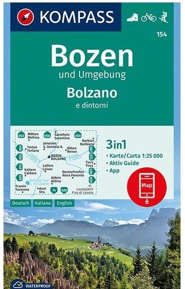 KP-154 Bozen / Bolzano | Kompass wandelkaart 1:25.000 9783990445549  Kompass Wandelkaarten   Wandelkaarten Zuidtirol, Dolomieten, Friuli, Venetië, Emilia-Romagna