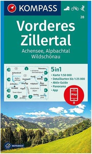 KP-28 Vorderes Zillertal | Kompass wandelkaart 9783990445556  Kompass Wandelkaarten   Wandelkaarten Tirol & Vorarlberg