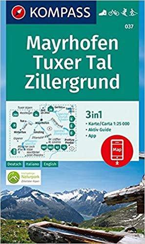 KP-037  Mayrhofen,Tuxer Tal, Zillergrund | Kompass wandelkaart 9783990445563  Kompass Wandelkaarten   Wandelkaarten Tirol & Vorarlberg