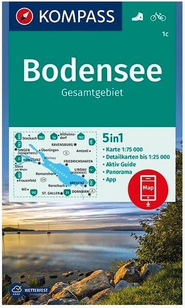 KP-1c Bodensee Gesamtgebiet | Kompass wandelkaart 9783990445587  Kompass Wandelkaarten   Landkaarten en wegenkaarten Baden-Württemberg, Zwarte Woud, Noordoost- en Centraal Zwitserland