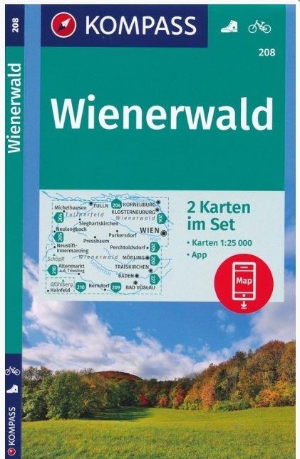 KP-208  Wienerwald 1:25.000 | Kompass wandelkaart 9783990445631  Kompass Wandelkaarten   Wandelkaarten Wenen, Noord- en Oost-Oostenrijk