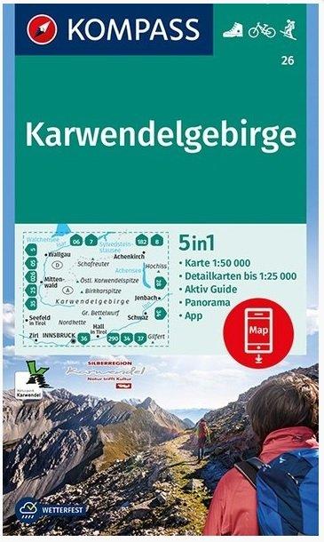 KP-26 Karwendelgebirge | Kompass wandelkaart 9783990445655  Kompass Wandelkaarten   Wandelkaarten Tirol & Vorarlberg