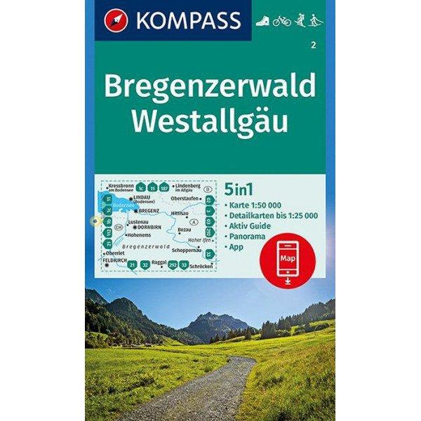 KP-2 Bregenzerwald-Westallgäu | Kompass wandelkaart 9783990445662  Kompass Wandelkaarten   Wandelkaarten Tirol & Vorarlberg