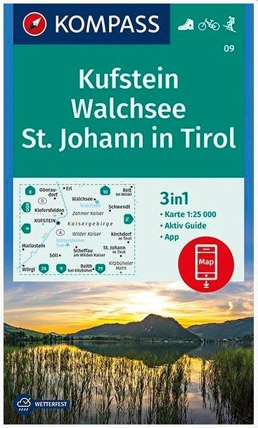 KP-09 Kufstein-Kaisergebirge | Kompass wandelkaart 9783990445679  Kompass Wandelkaarten   Wandelkaarten Tirol & Vorarlberg