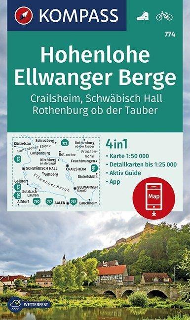 KP-774  Hohenlohe, Ellwanger Berge | Kompass wandelkaart 9783990445969  Kompass Wandelkaarten   Wandelkaarten Beieren zonder de Alpen