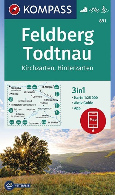 KP-891 Feldberg/Todtnau/Kirchzarten | Kompass 9783990446010  Kompass Wandelkaarten   Wandelkaarten Baden-Württemberg, Zwarte Woud