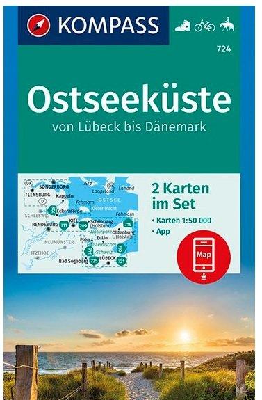 KP-724 Ostseeküste | Kompass wandelkaart 9783990446126  Kompass Wandelkaarten   Wandelkaarten Schleswig-Holstein, Hamburg, Niedersachsen