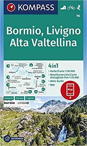 KP-96 Bormio/Livigno/Corna di Campo/Stelvio 1:50.000   Kompass 9783990446294  Kompass Wandelkaarten   Wandelkaarten Zuidtirol, Dolomieten, Friuli, Venetië, Emilia-Romagna