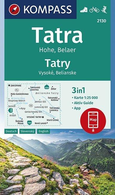 KP-2130 Hohe Tatra | Kompass wandelkaart 9783990446454  Kompass Wandelkaarten   Wandelkaarten Slowakije