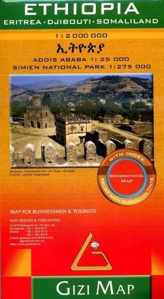 Ethiopië 1:2.000.000 9786155010026  Gizi Map   Landkaarten en wegenkaarten Ethiopië, Somalië, Eritrea