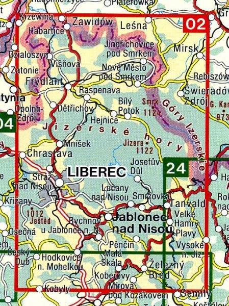 CZ50 02  Jizerske hory, Frydlantsko 1:50.000 | wandelkaart 9788072241620  SHOCart Wandelkaarten Tsjechië  Wandelkaarten Tsjechië
