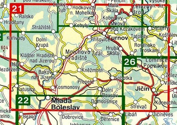 CZ50 21  Cesky Raj, Mladoboleslavsko 1:50.000 | wandelkaart 9788072241699  SHOCart Wandelkaarten Tsjechië  Wandelkaarten Tsjechië