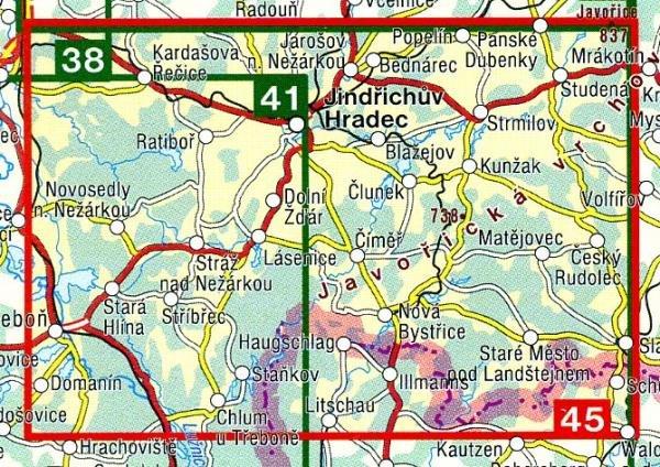 CZ50 45  Jindrichohradecko, Ceská Kanada | wandelkaart 9788072241743  SHOCart Wandelkaarten Tsjechië  Wandelkaarten Tsjechië