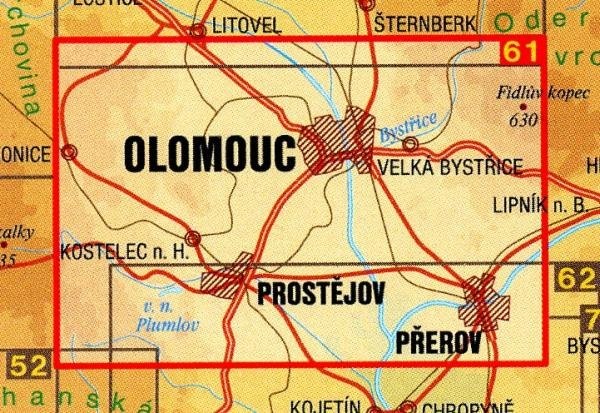CZ50 61  Olomoucko 1:50.000   wandelkaart 9788072241798  SHOCart Wandelkaarten Tsjechië  Wandelkaarten Tsjechië