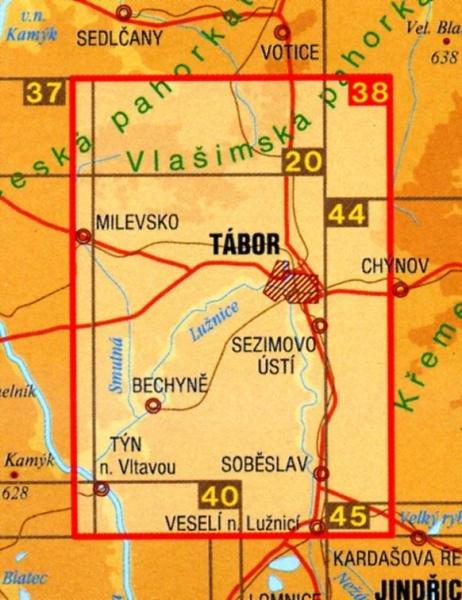 CZ50 38  Taborsko, dolni Luznice 1:50.000 | wandelkaart 9788072241842  SHOCart Wandelkaarten Tsjechië  Wandelkaarten Tsjechië