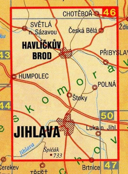 CZ50 46  Havlíckobrodsko, Jihlavsko 1:50.000 | wandelkaart 9788072242061  SHOCart Wandelkaarten Tsjechië  Wandelkaarten Tsjechië