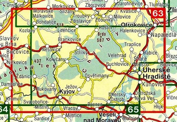 CZ50 63  Slovácko - Chriby 1:50.000 | wandelkaart 9788072243396  SHOCart Wandelkaarten Tsjechië  Wandelkaarten Tsjechië