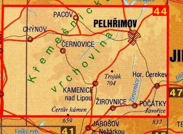 CZ50 44  Pelhrimovsko 1:50.000 | wandelkaart 9788072243624  SHOCart Wandelkaarten Tsjechië  Wandelkaarten Tsjechië