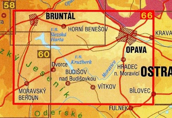 CZ50 66  Opavsko, Slezská Harta 1:50.000 | wandelkaart 9788072243723  SHOCart Wandelkaarten Tsjechië  Wandelkaarten Tsjechië