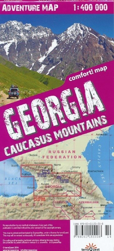 Georgia, Caucasus Mountains 1:400.000 9788361155683  TerraQuest   Landkaarten en wegenkaarten Georgië