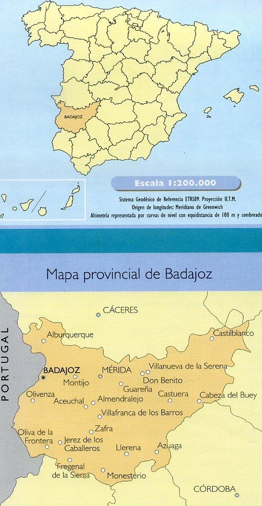 Prov.: Badajoz 1:200.000 9788441622852  CNIG Provinciekaarten Spanje  Landkaarten en wegenkaarten Extremadura