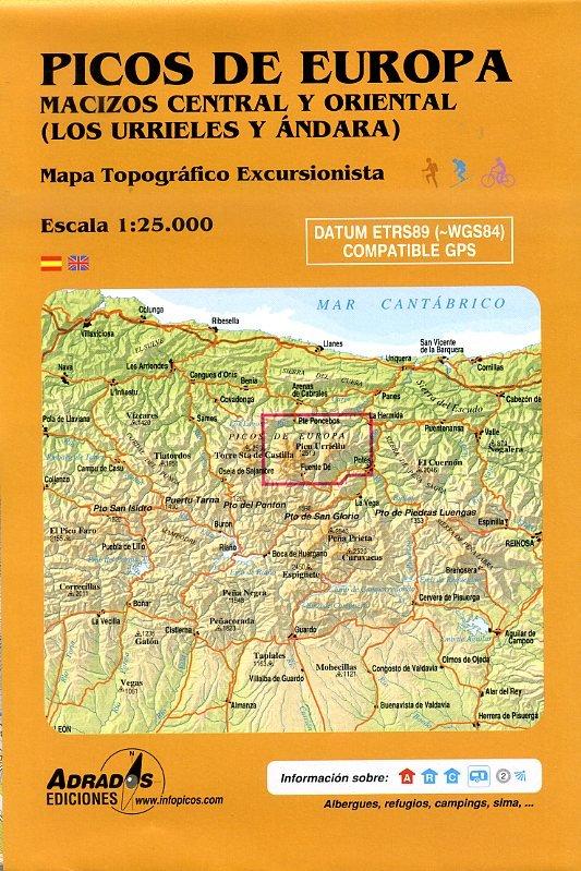 Picos de Europa  Macizos Central y Oriental wandelkaart 9788493317782  Adrados, M.A. Wandelkaarten Spanje  Wandelkaarten Noordwest-Spanje, Compostela, Picos de Europa