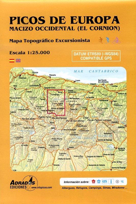 Picos de Europa 1:25.000 West (Macizo Occidental) wandelkaart 9788493317799  Adrados, M.A. Wandelkaarten Spanje  Wandelkaarten Noordwest-Spanje, Compostela, Picos de Europa