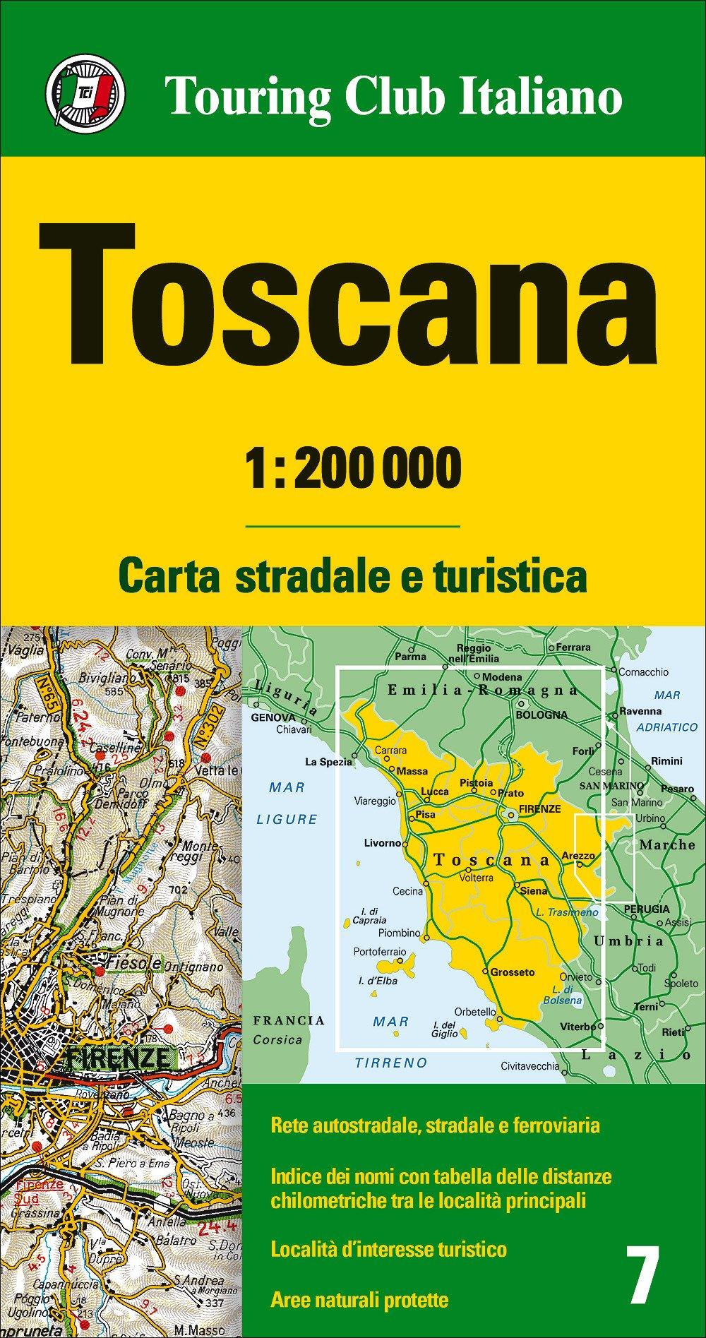 TCI-07  Toscana  1:200.000 9788836569045  TCI Italië Wegenkaarten  Landkaarten en wegenkaarten Toscane, Florence