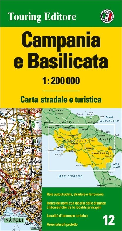 TCI-12  Campania / Basilicata 1:200.000 9788836570898  TCI Italië Wegenkaarten  Landkaarten en wegenkaarten Napels en Zuid-Italië