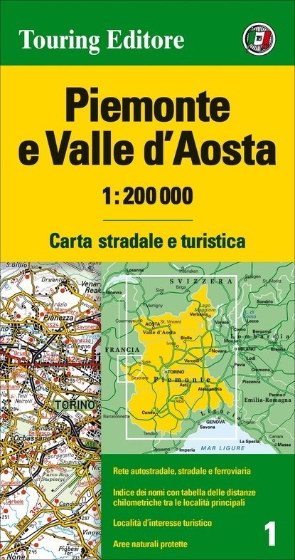 TCI-01  Piemonte / Aosta 1:200.000 9788836570928  TCI Italië Wegenkaarten  Landkaarten en wegenkaarten Aosta, Gran Paradiso, Turijn, Piemonte
