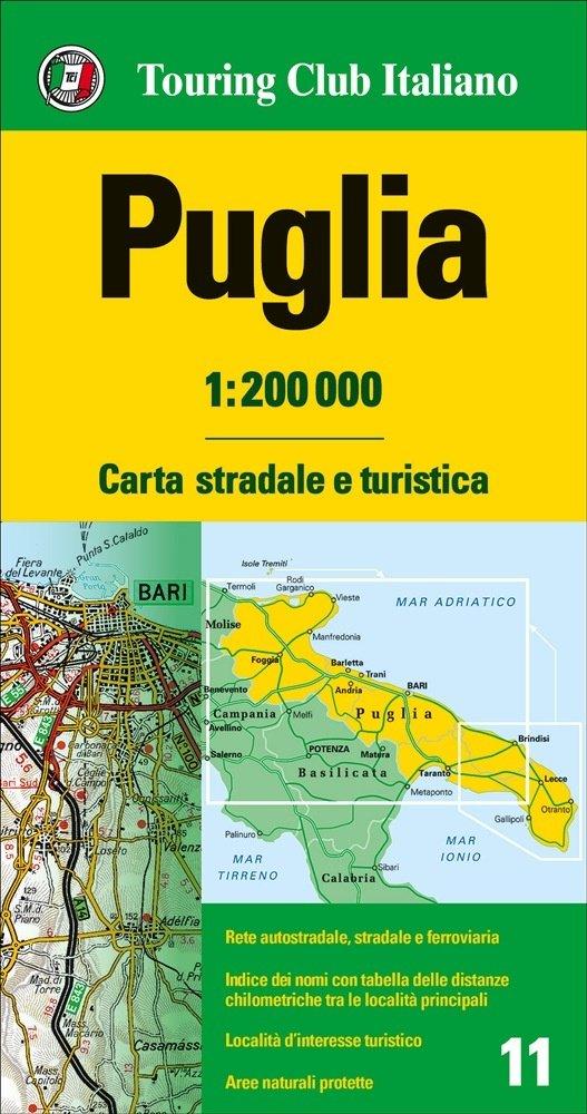 TCI-11  Puglia 1:200.000 9788836570935  TCI Italië Wegenkaarten  Landkaarten en wegenkaarten Napels en Zuid-Italië